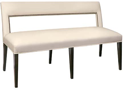 lacasa collection unique handmade fully upholstered dining bench with back shown in coffee bean finish and ivory leather upholstery with optional