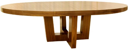 343dt R Metropole Collection Round Dining Table On Center Pedestal Shown  With Two Extension Leaves